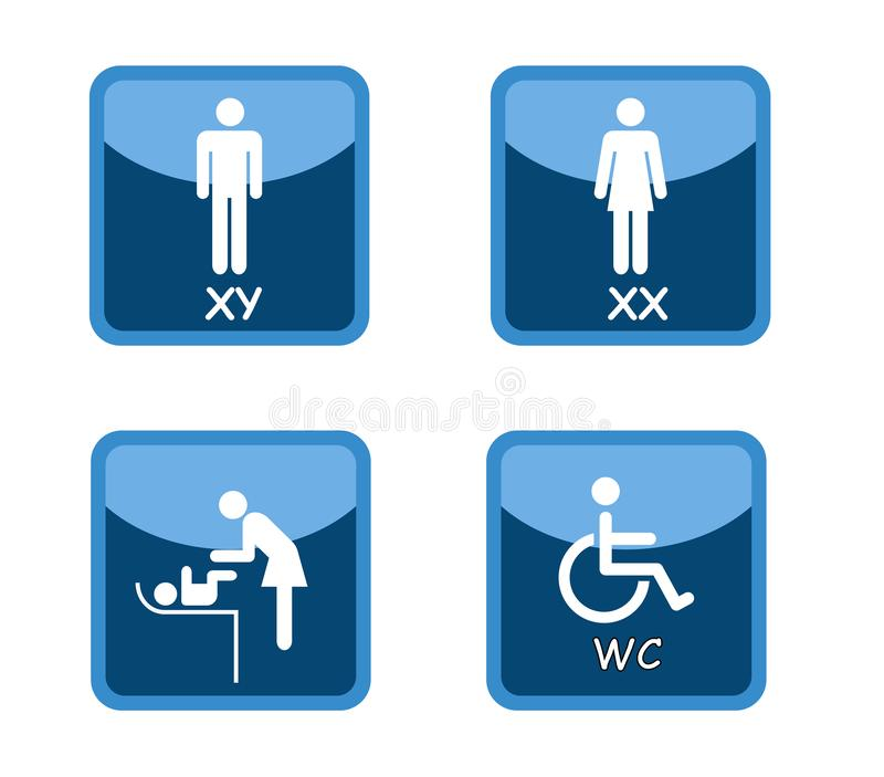 Signes de centre commercial de toilette de carte de travail illustration de vecteur