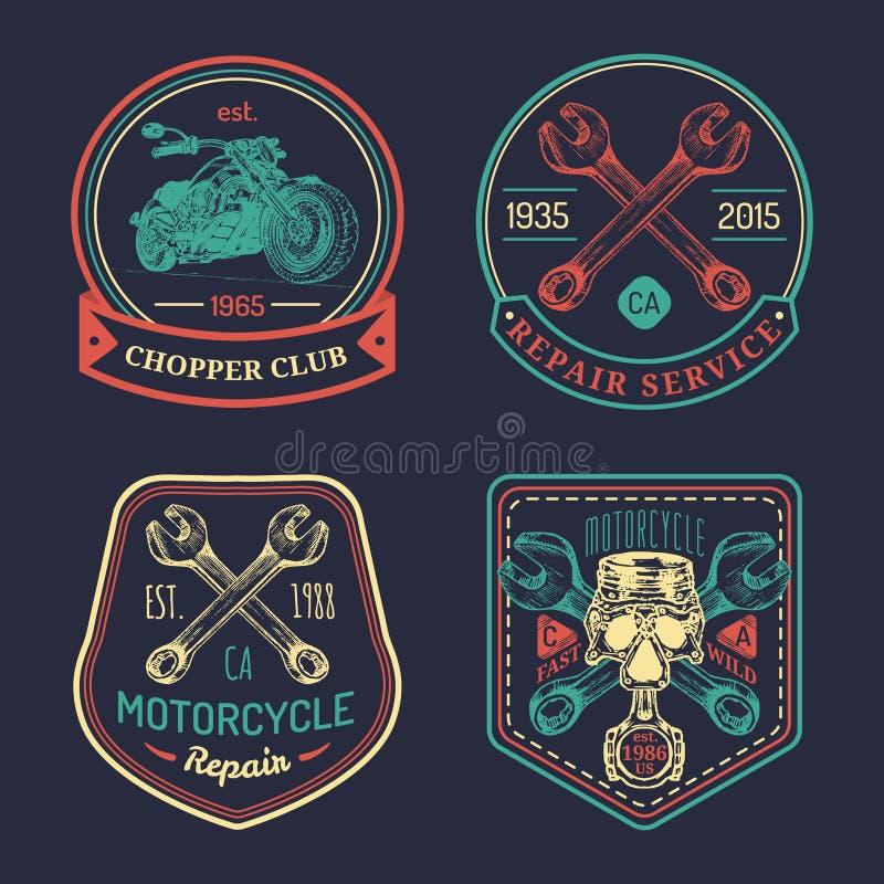 Signes de club de cycliste de vintage de vecteur Logos de réparation de moto réglés Labels de garage esquissés par main Emblèmes  illustration de vecteur