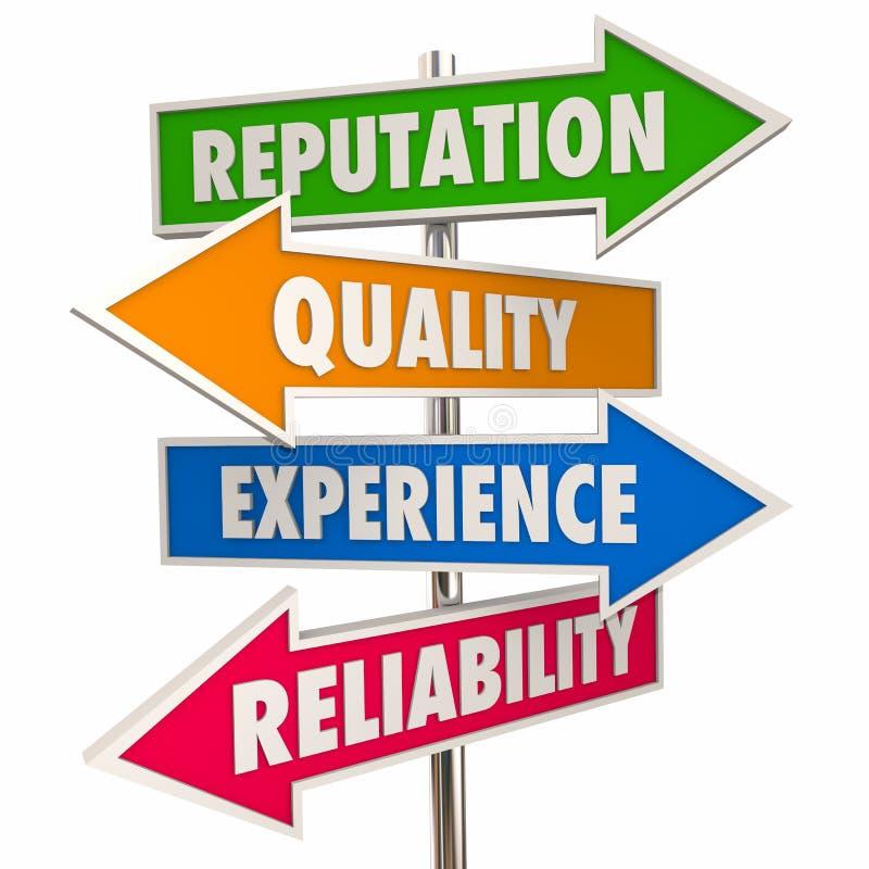 Signes de confiance de fiabilité d'expérience de qualité de réputation illustration de vecteur