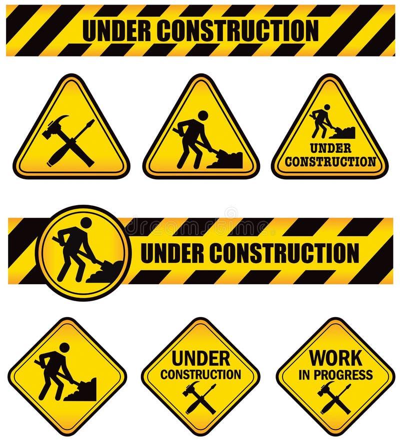 Signes de construction illustration stock
