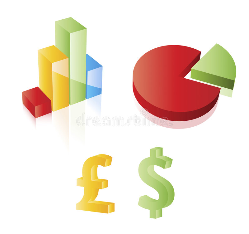 signes de diagramme, de secteur, de dollar et de livre du vecteur 3D. illustration de vecteur