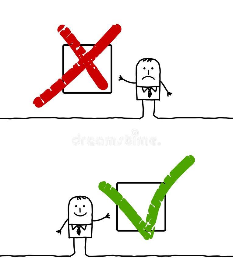 Signes de X et de V illustration de vecteur
