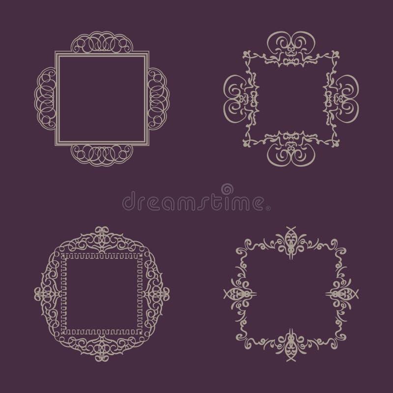 Signes de flourish d'affaires et frontière classique de logo illustration stock