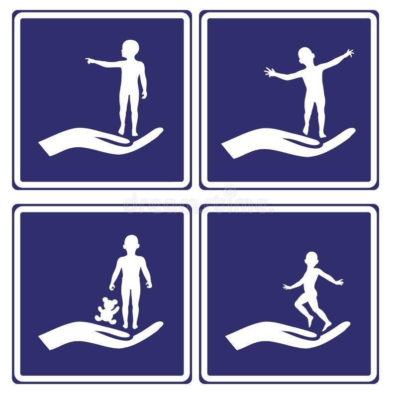 Signes de garde d'enfants illustration de vecteur