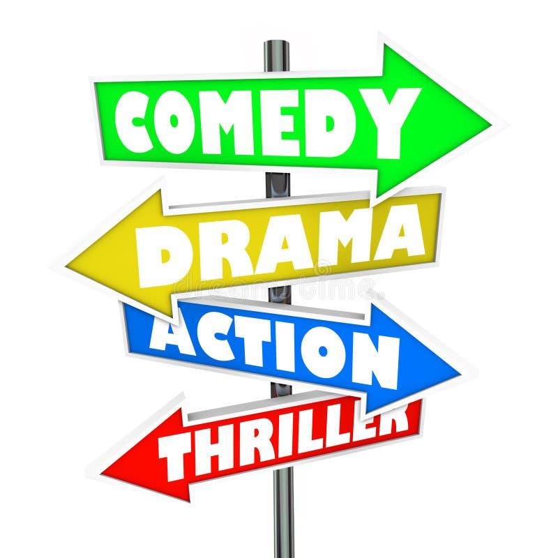 Signes de genre de film de thriller d'action de drame de comédie illustration stock