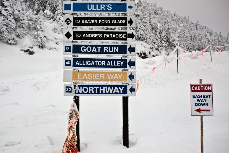 Signes de journal de ressource de ski/Snowboard photographie stock