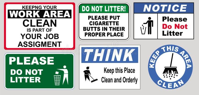 Signes de maintenir le lieu de travail propre illustration libre de droits