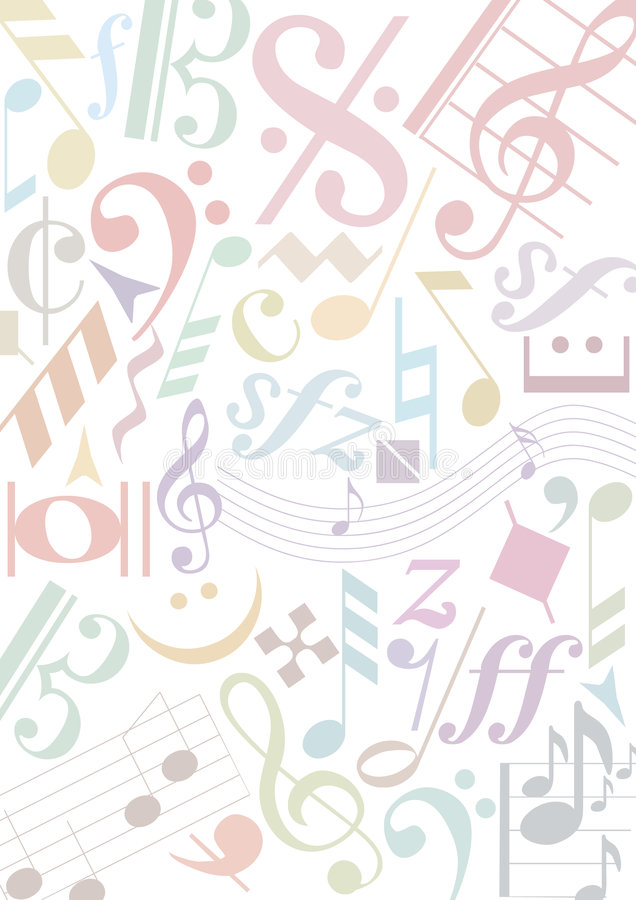 Signes de musique de pastell de fond illustration de vecteur