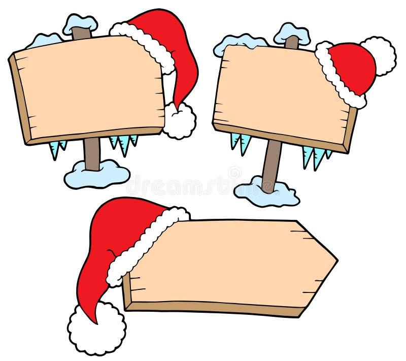 Signes de Noël avec des capuchons illustration stock