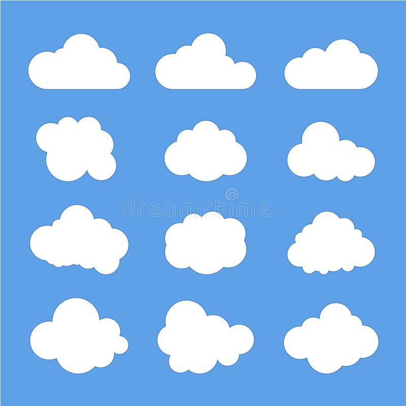 Signes de nuage, symboles de ciel Fond pour une carte d'invitation ou une f?licitation Illustration de vecteur illustration stock