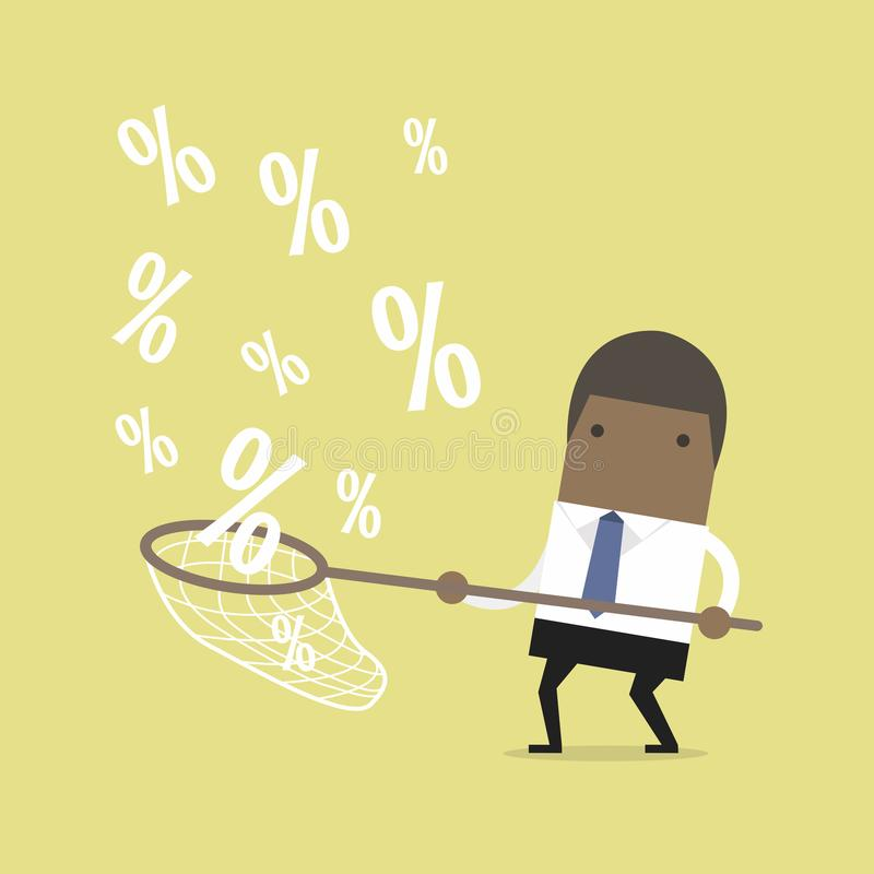 Signes de pour cent contagieux d'homme d'affaires africain illustration de vecteur