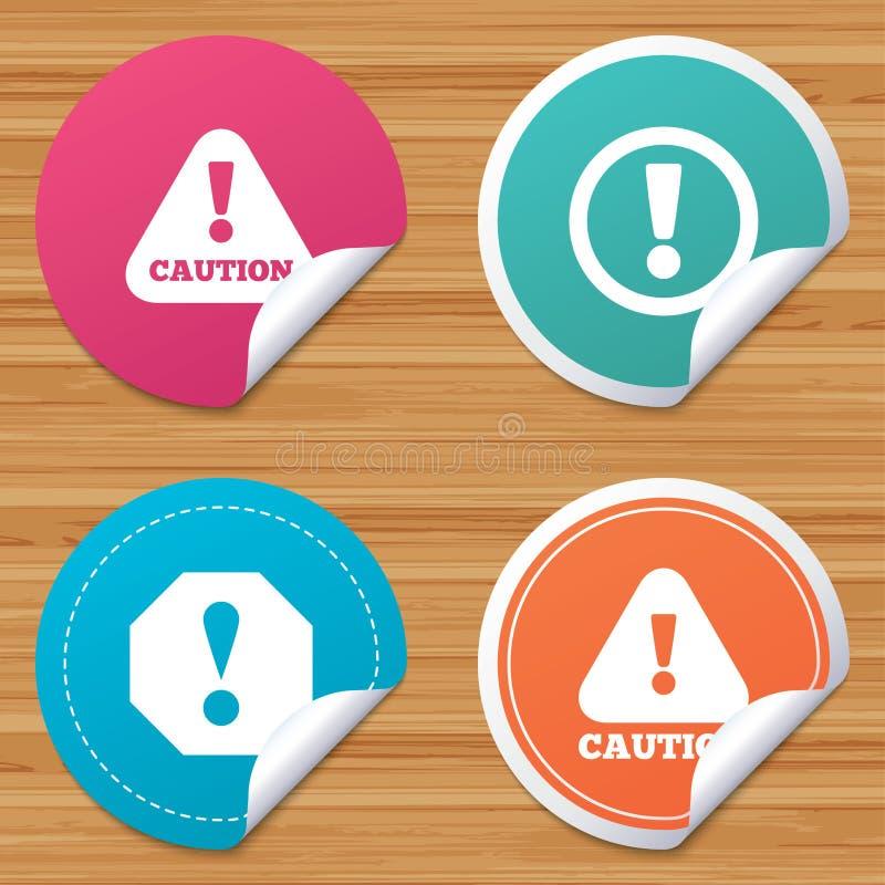 Signes de précaution d'attention Icônes d'avertissement de risque illustration de vecteur
