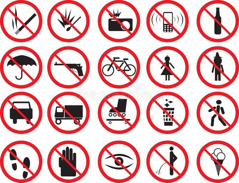 Signes de prohibition illustration stock
