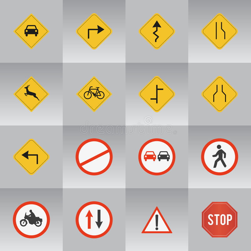 16 signes de route illustration stock
