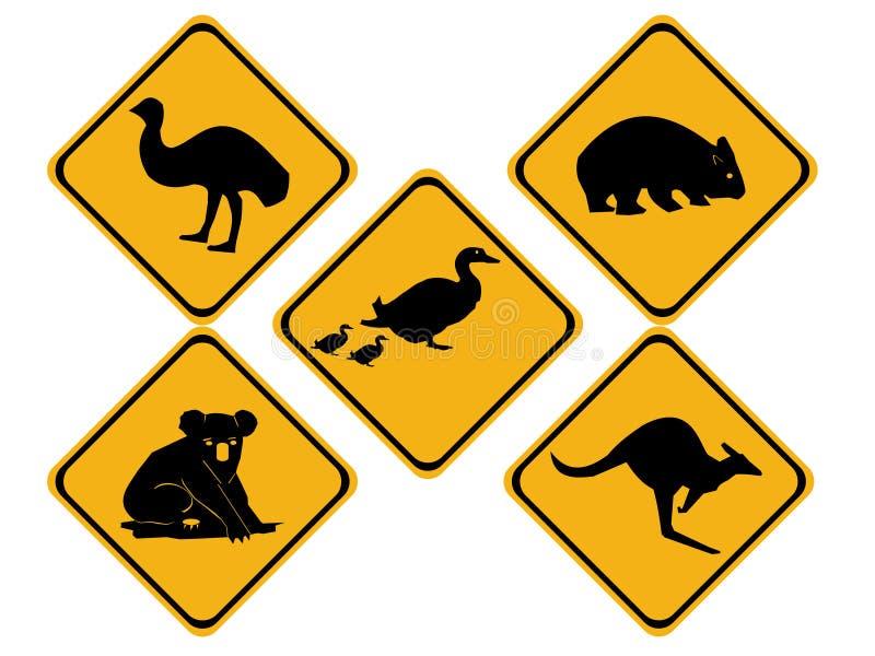 Signes de route australiens de faune illustration de vecteur