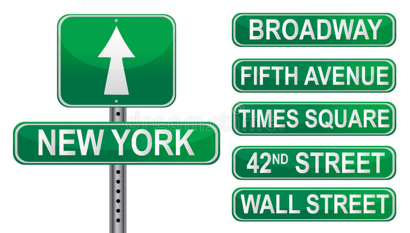 Signes de rue de New York illustration stock