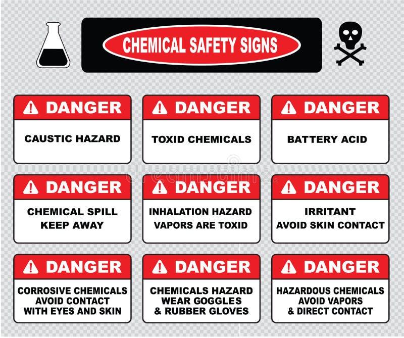 Signes de sécurité chimique, divers signe de danger illustration stock