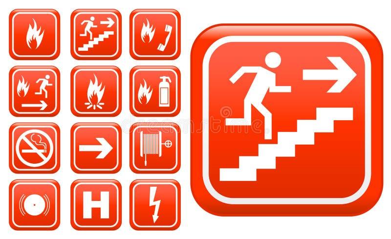 Signes de sécurité incendie de secours d'Ed illustration de vecteur