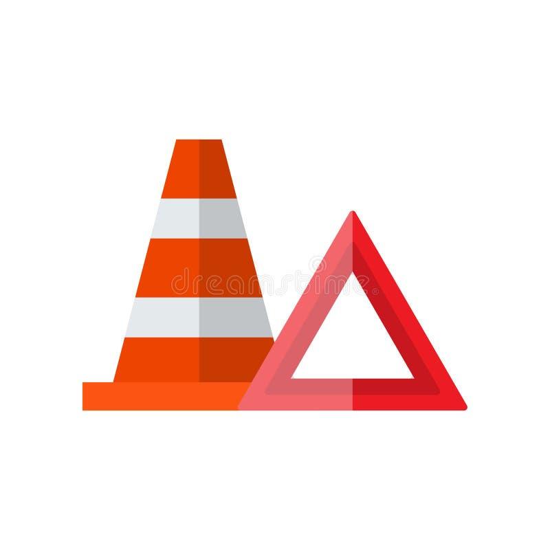 Signes de secours de route, triangle de avertissement, illustration de vecteur de cône du trafic illustration libre de droits
