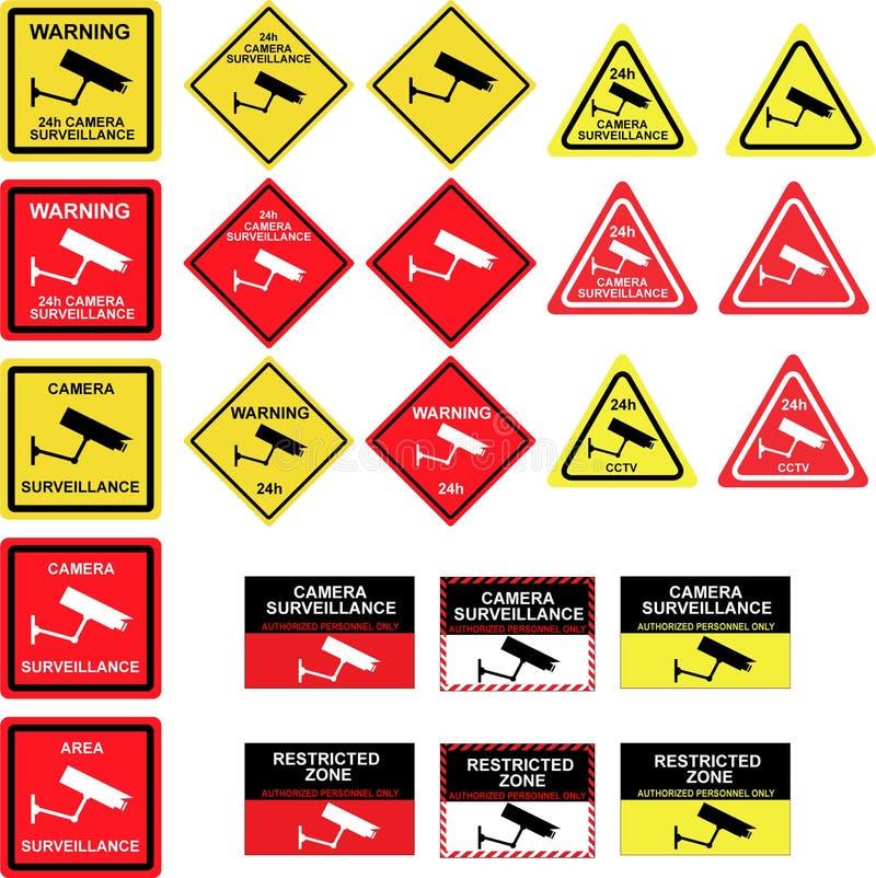 Signes de surveillance d'appareil-photo de télévision en circuit fermé illustration de vecteur