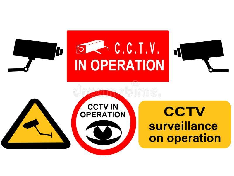 Signes de surveillance de télévision en circuit fermé illustration stock