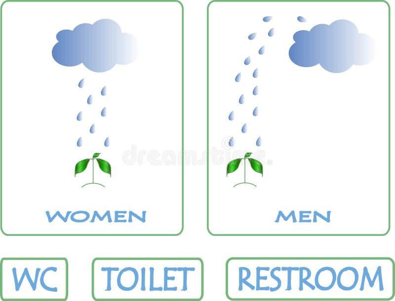 Signes de toilette Le nuage bleu, gouttes de pluie verse sur la plante verte illustration stock