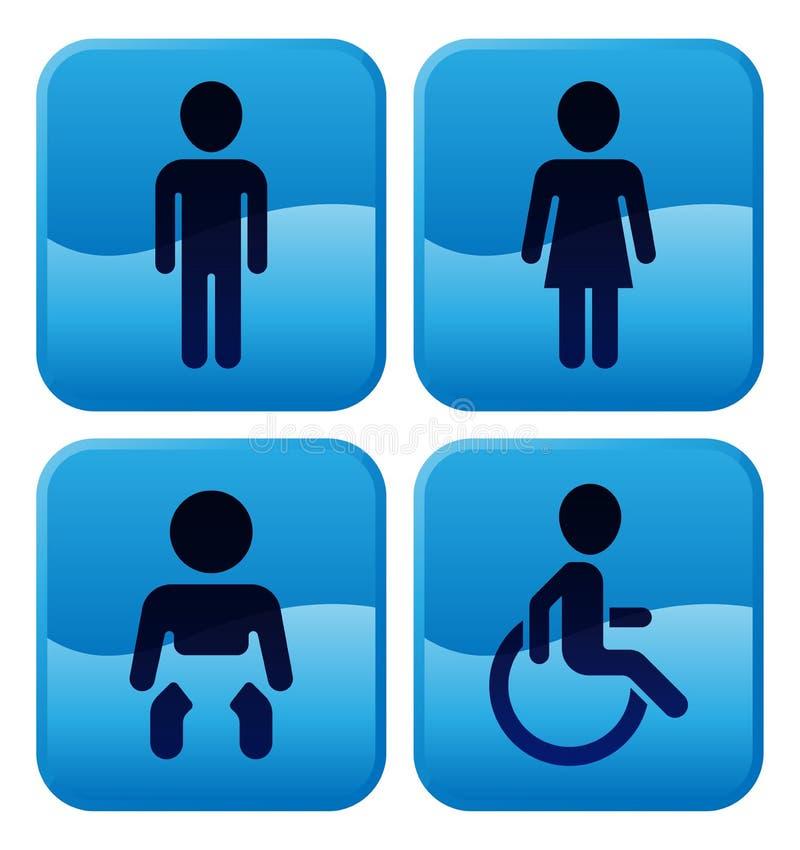 Signes de toilettes de toilette illustration de vecteur