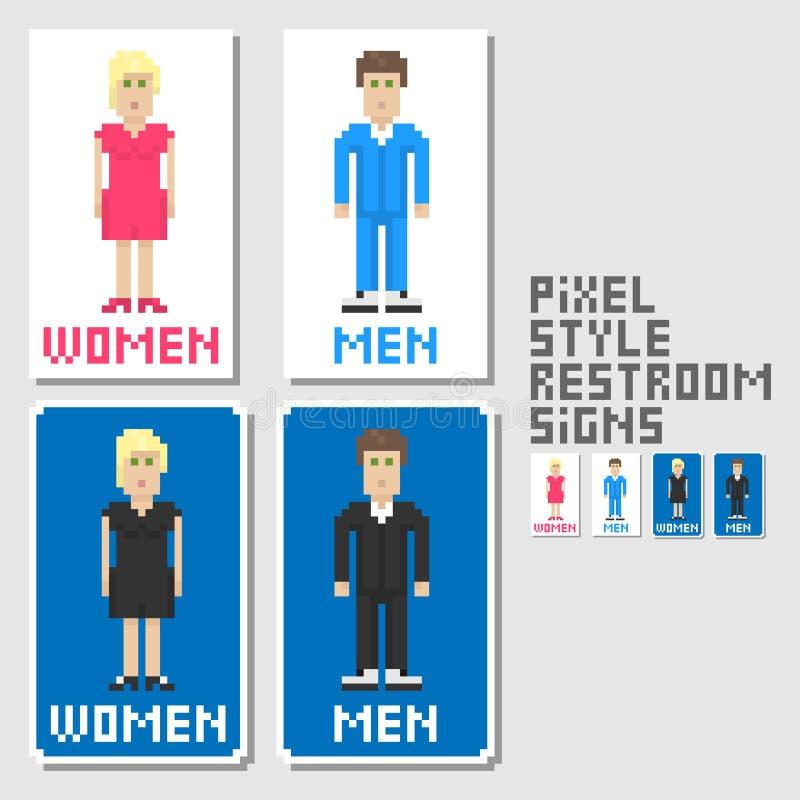 Signes de toilettes. Type d'art de Pixel illustration stock