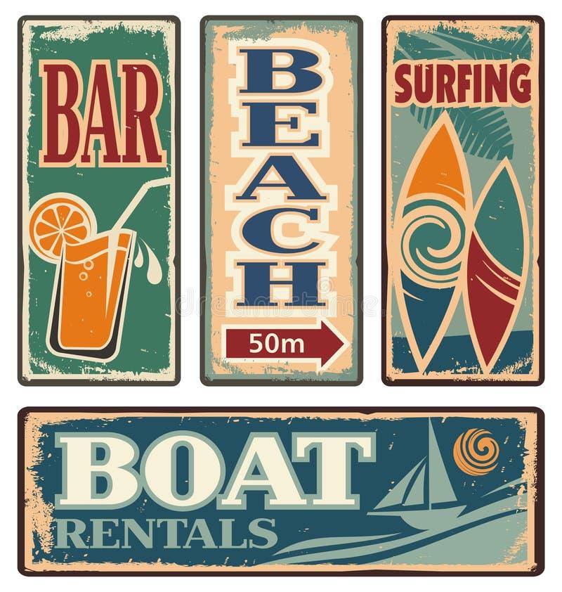 Signes de vacances d'été de vintage illustration de vecteur