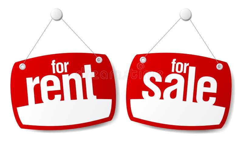 Signes de vente et de loyer illustration de vecteur