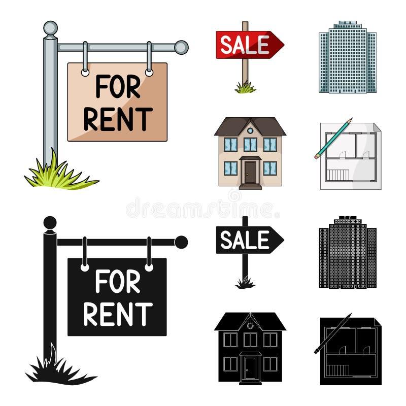 Signes de vente et de loyer, un gratte-ciel, un cottage à deux étages Icônes réglées de collection d'agent immobilier dans la ban illustration stock