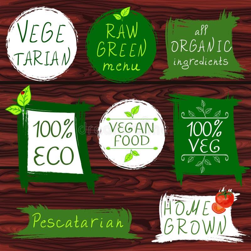 Signes de vintage : végétarien, menu vert cru, tous les ingrédients organiques, 100 ECO, nourriture de vegan, 100 VEG, pescataria illustration libre de droits