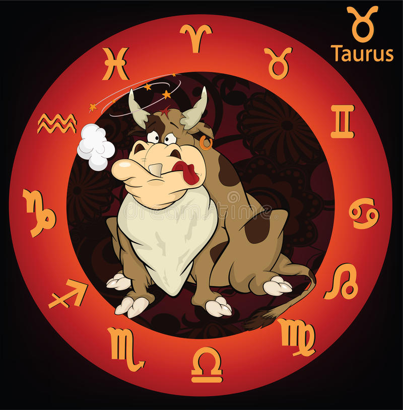 Signes de zodiaque. Dessin animé de bull. illustration libre de droits