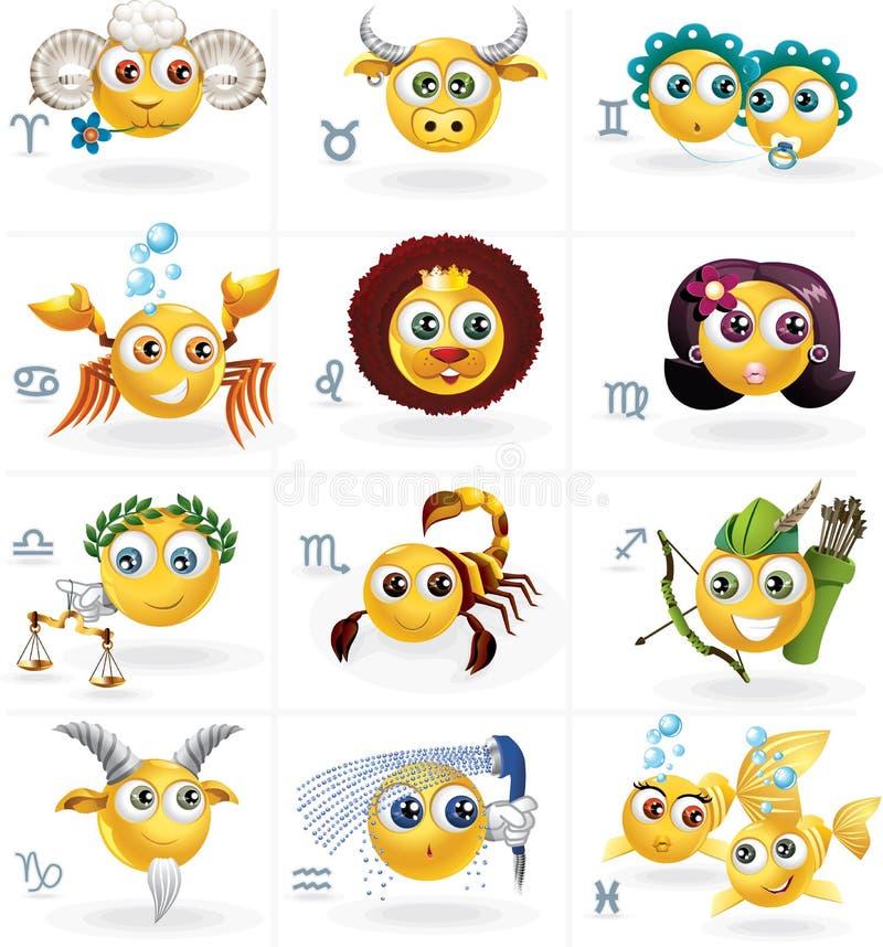 Signes de zodiaque - icônes Smiley Figures - ensemble de vecteur illustration stock