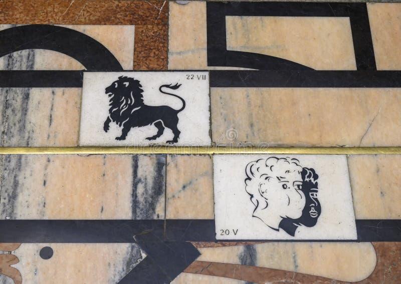 Signes de zodiaque suivant la ligne méridienne du cadran solaire dans Milan Cathedral, Italie photos stock