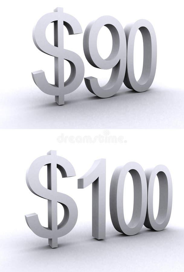 Signes du dollar illustration stock
