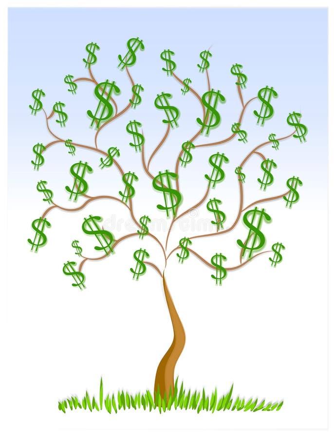 Signes du dollar d'argent comptant d'arbre d'argent illustration libre de droits