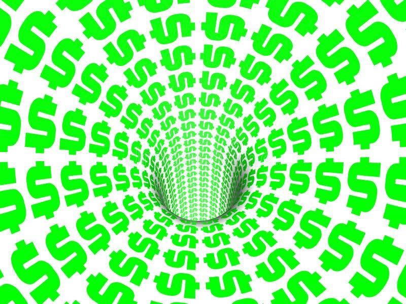 Signes du dollar tombant vers le bas trou illustration libre de droits