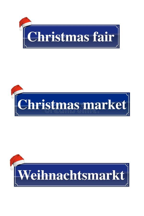 Signes du marché de Noël photo stock