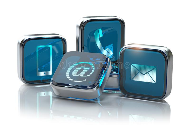 Signes du téléphone, du mobile, de la lettre et de l'email d'isolement sur le blanc Contactez-nous page de site Web et concept d' illustration stock