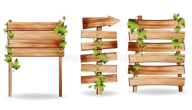 Signes en bois de vecteur avec les lames vertes illustration de vecteur