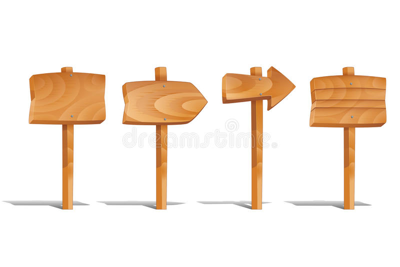 Signes en bois réglés sur le fond blanc illustration libre de droits