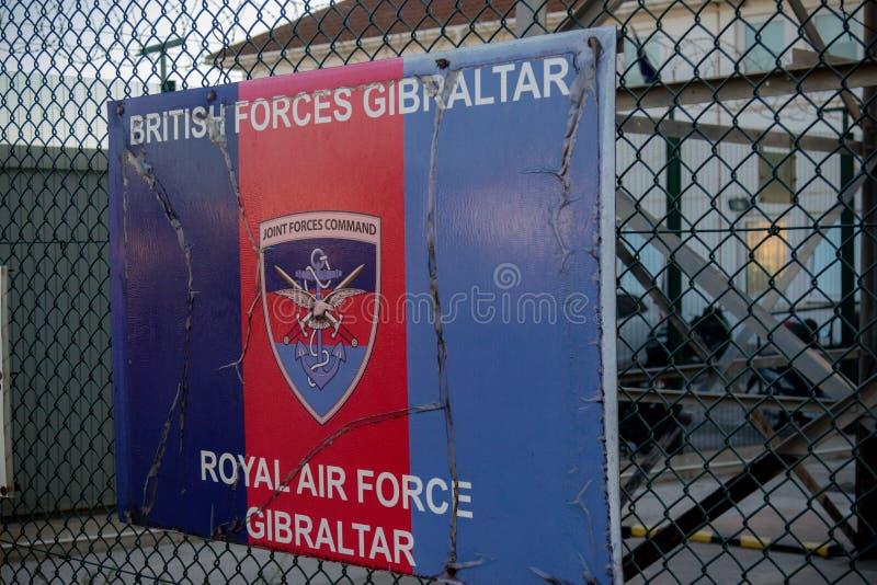 Signes en dehors de RAF Gibraltar photos libres de droits