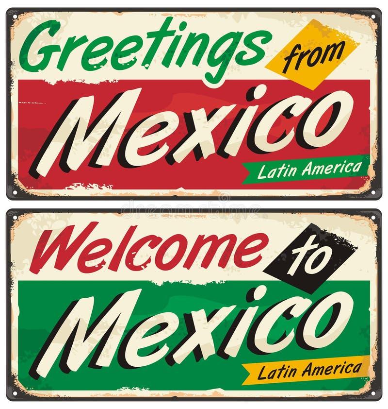 Signes en métal de vintage du Mexique illustration de vecteur