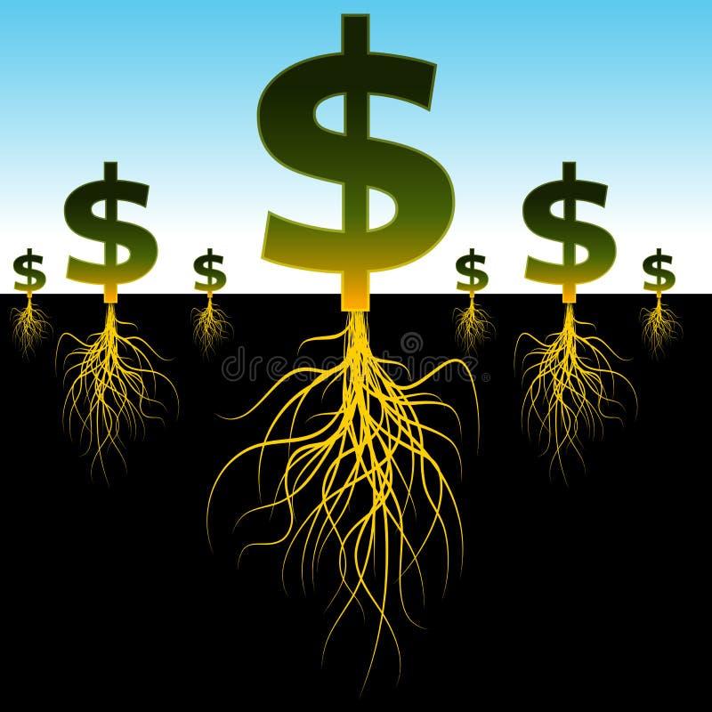 Signes enracinés du dollar illustration de vecteur