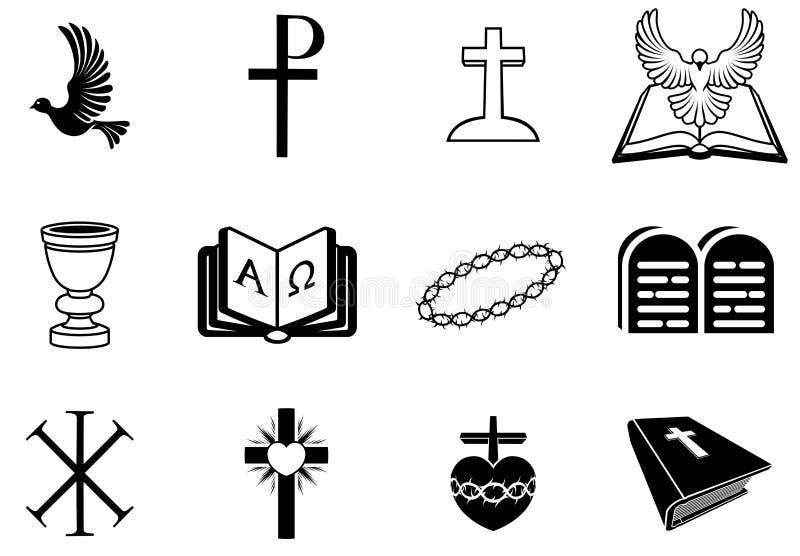 Signes et symboles religieux chrétiens illustration libre de droits