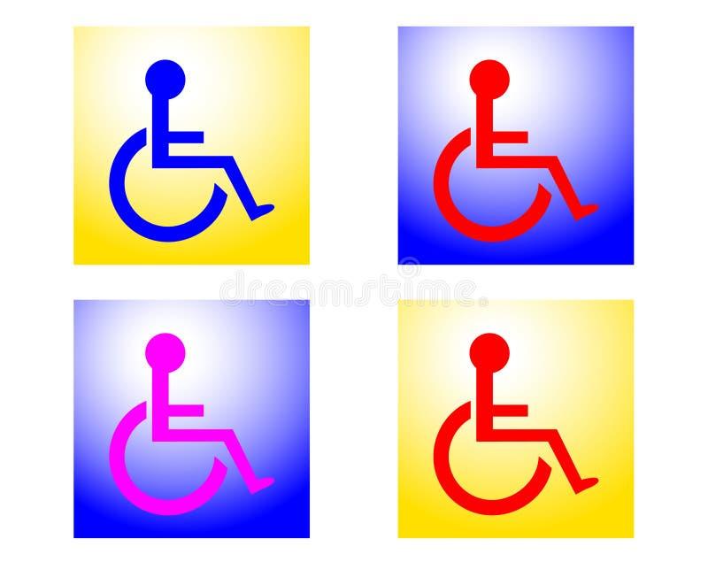 Signes handicapés radiants illustration de vecteur