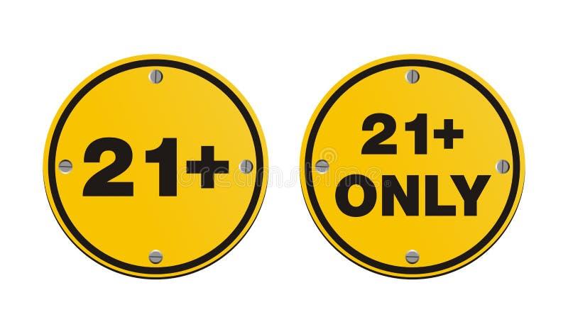21 signes jaunes ronds plus photo libre de droits