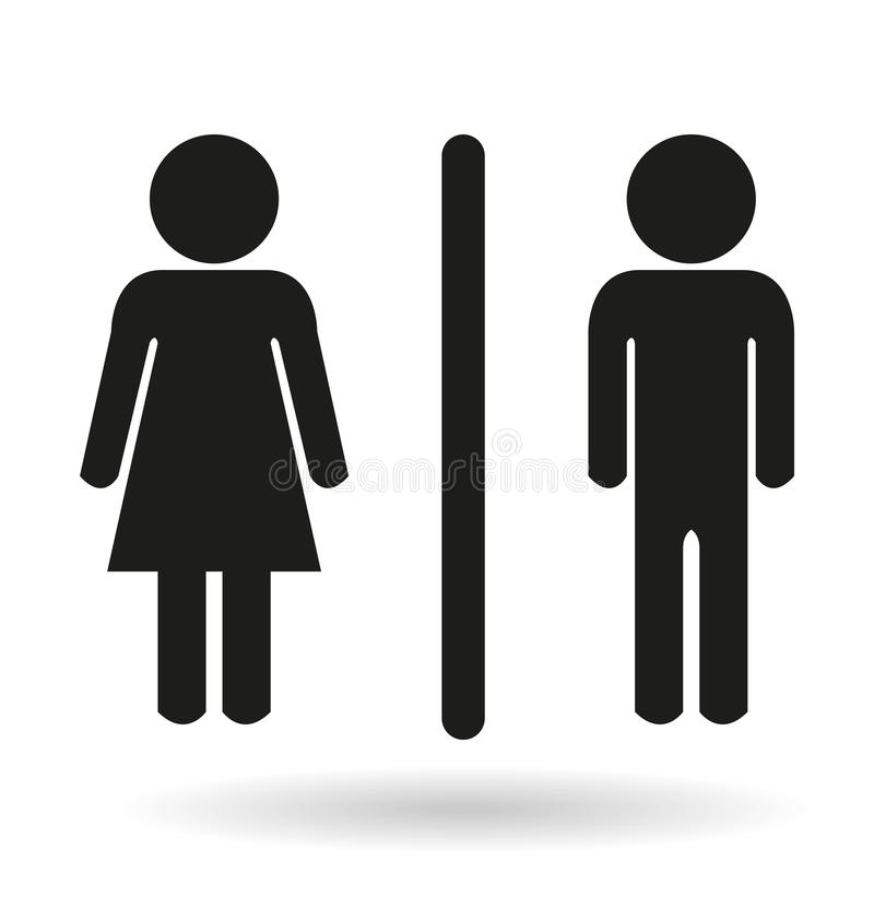 Signes noirs d'icône de toilette de dames et de monsieurs illustration libre de droits