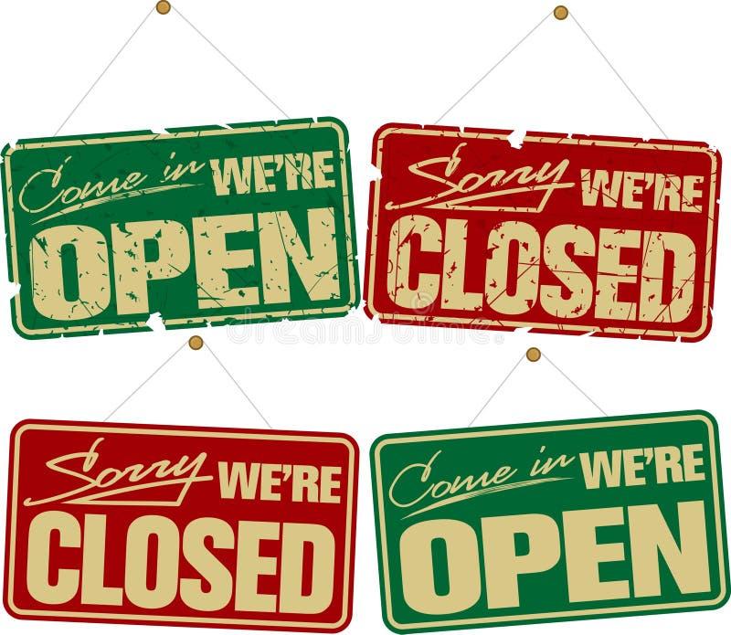 Signes ouverts et fermés illustration libre de droits